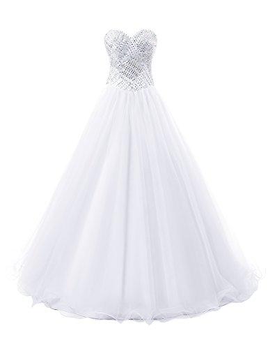 Dresstells, Robe de cérémonie Robe de soirée en tulle forme marquise emperlée bustier en cœur Blanc
