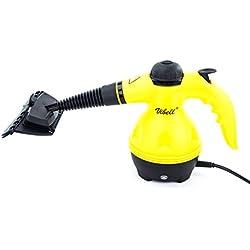 Steam Cleaner - Nettoyeur Vapeur à Main - Idéal pour nettoyer, dégraisser, désinfecter - Permet d'atteindre les endroits inaccessibles - Lot d'accessoires complet - Jaune et Noir