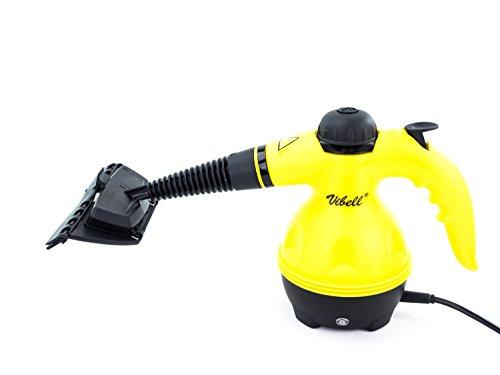Steam Cleaner – Nettoyeur Vapeur à Main – Idéal pour nettoyer, dégraisser, désinfecter – Permet d'atteindre les endroits inaccessibles – Lot d'accessoires complet – Jaune et Noir