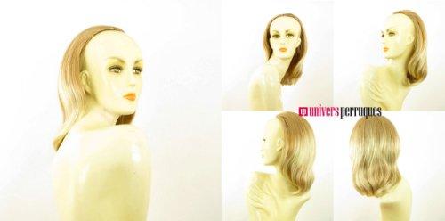 Demi-tête, demi-perruque courte lisse 40 cm blond clair cuivré méché blond clair ref 021 en 27t613