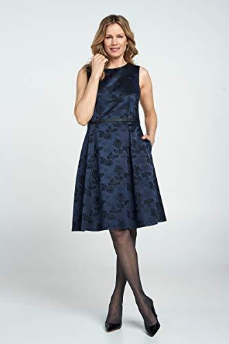 Promiss Damen Kleid Jacquard-Muster Droza ärmellos Rundhalsausschnitt Knielänge, Nachtblau, 46 Jacquard-kleid