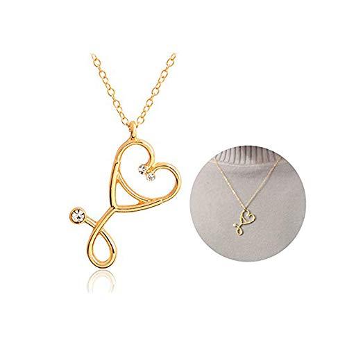 Dcfywl731 - Collar de Estetoscopio de Oro Rosa y Plata con Colgante de corazón y Estetoscopio para médicos, médicos, Estudiantes, joyería para Enfermeras