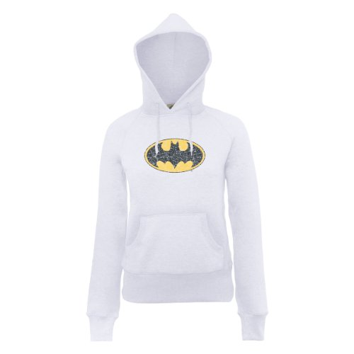 DC Comic Dc Comics Official Batman Gloss Logo Womens Hooded Sweatshirt - Sweat-shirt àcapuche - Femme Blanc - Blanc