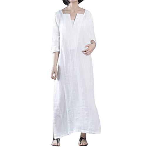 Levifun abito donna eleganti da cerimonia vintage manica lunga solido grande taglia cotone e lino casuale vestiti party serale abiti donna