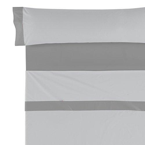 Es-Tela Lisos Aplique 50/50 Juego de sábanas, 3 Piezas, Color Perla-Plomo, Algodón-Poliéster, Cama...