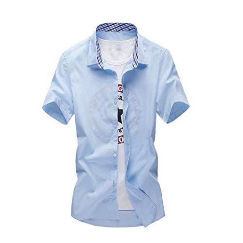 Preisvergleich Produktbild Binggong Herren Shirt,Herrenhemd, Blau,Weiß, weinrot, Doppelkragen, Paisley-Muster, Kurzarm, Slim/Normal & Regular-Plus Fit