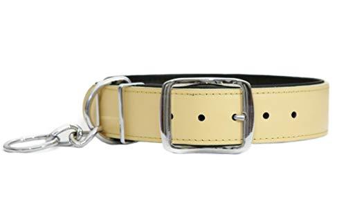 Othello Hundehalsband Modern Art Lederhalsband Hund weiches Leder Halsband Leder Cuna - Beige - M - 2,5 x 50 cm -