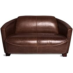 Wholesaler GmbH Ledersofa 2-Sitzer Clubsofa 135 cm Ledercouch Lounge Sofa Couch Zweisitzer braun antik Vintage