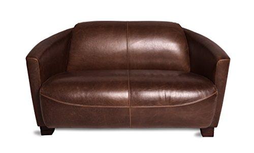 Ledersofa 2-Sitzer Clubsofa 135 cm Ledercouch Lounge Sofa Couch Zweisitzer braun antik vintage
