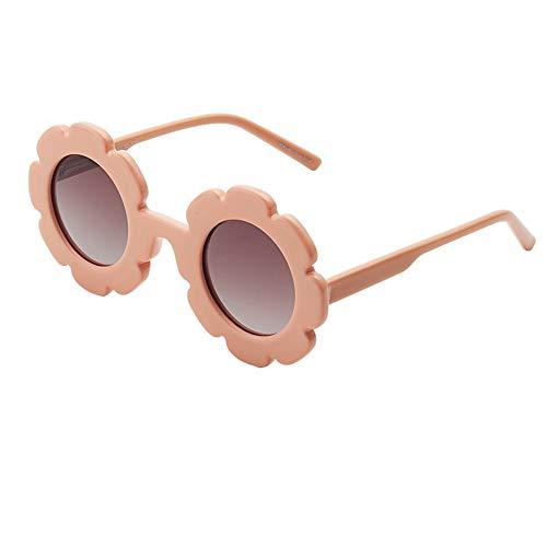 ERTMJ Kinder Runde Sonnenbrille Kinder Brille Sonnenbrille Uv-Visier Spiegel Baby Blumen Sonnenbrille Jungen Mädchen Polarisierte Gläser Sonnenbrille Golden Runde Fleisch Rosa Blüten