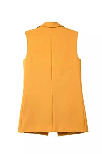 CHENGYANG Blazer sans manche Blouson Long Classique Gilet Doudoune Automne Cardigan Veste pour Femme Jaune