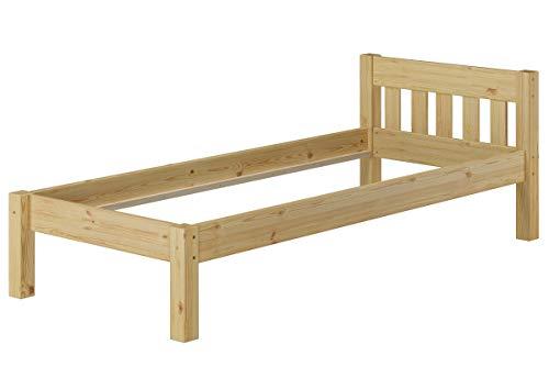 Erst-Holz® Kieferbett Natur Einzelbett 90x200 Massivholz-Bettgestell Futonbett ohne Rollrost 60.38-09 oR