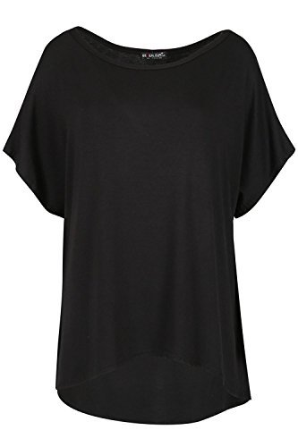 Oops Outlet Damen Baggy Übergröße Lagenlook Schicht Flügelärmel Hoch Niedrig T-shirt Top Schwarz