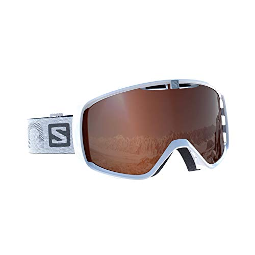 Salomon Aksium Access esquí Unisex, Compatible con Gafas de Vista, Tiempo Variable, Lente Naranja con Efecto Flash (Intercambiable), Sistema Airflow, Adulto, Blanco, Uni