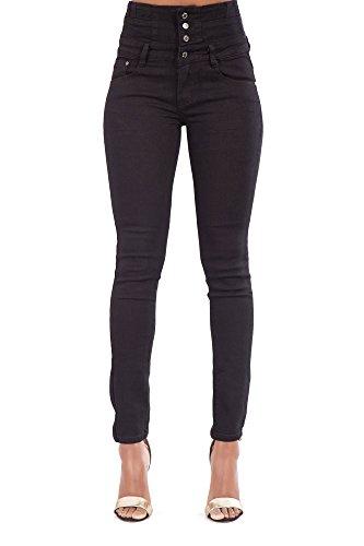 Damen Schwarz Hohe Taille Skinny Fit Hosen Frauen Stretchy Denim 4 Button Fasten Jeans-EU38 (Hohe Jeans Taille)