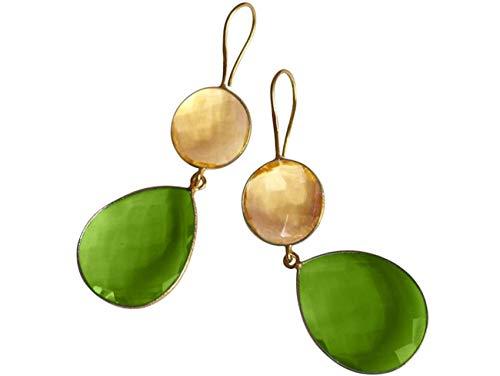 Gemshine Damen Ohrringe gold gelbe Citrin und grüne Peridot Quarz Tropfen. 925 Silber oder vergoldete Ohrhänger. Nachhaltiger, qualitätsvoller Schmuck Made in Spain, Metall Farbe:Silber vergoldet