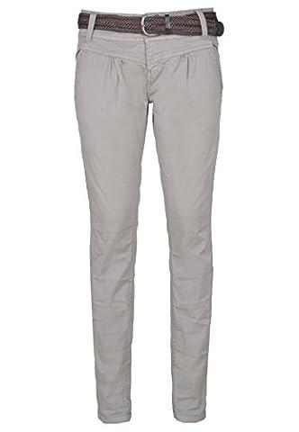 Urban Surface Damen Chino-Hose | Elegante Stoffhose mit Flecht-Gürtel aus bequemer Baumwolle middle-grey L