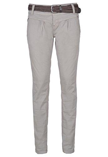 Urban Surface Damen Chino-Hose I Elegante Stoffhose mit Flecht-Gürtel aus bequemer Baumwolle middle-grey L