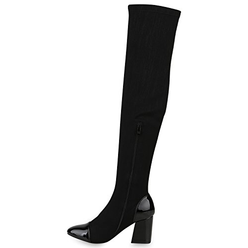 Stiefelparadies Damen Overknees Stiefel Veloursleder-Optik Schuhe Langschaftstiefel High Heels Boots Karneval Fasching Kostüm Polizistin Flandell Schwarz Lack