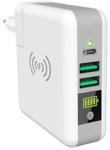 Smrter Wireless Qi (5W) Powerbank als Netzteil, 6700 mAh, Zertifiziert, 2X USB-Ausgang (2.4A), 1x USB-C (3A) (ohne Reiseadapter)