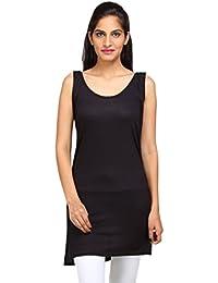 ALBATROZ Women's Full Slip Black thigh length long length camisole long shameej
