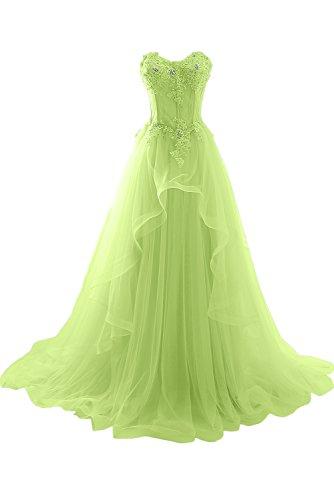 Ivydressing Damen Romantisch Herzform Spitze Abendkleider Lang Hochzeitskleid Ballkleider Jaegergruen