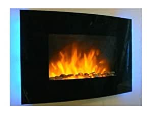 Truflame 2kw Black Curved Glass Screen Wall Mounted Fire