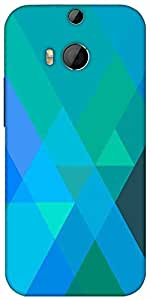Snoogg Blue Rhombuses Designer Protective Back Case Cover For HTC M8