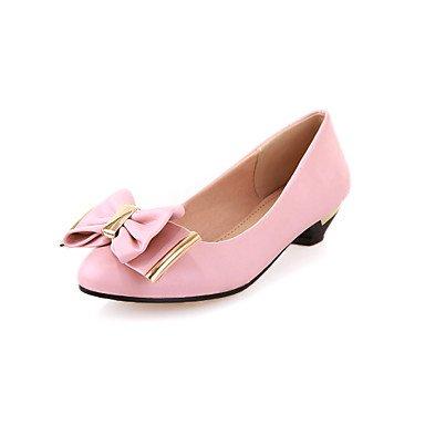 Talloni delle donne Primavera Comfort microfibra casual tacco grosso Bowknot Blushing Rosa Beige Nero,Blushing rosa,US5 / EU35 / UK3 / CN US9 / EU40 / UK7 / CN41