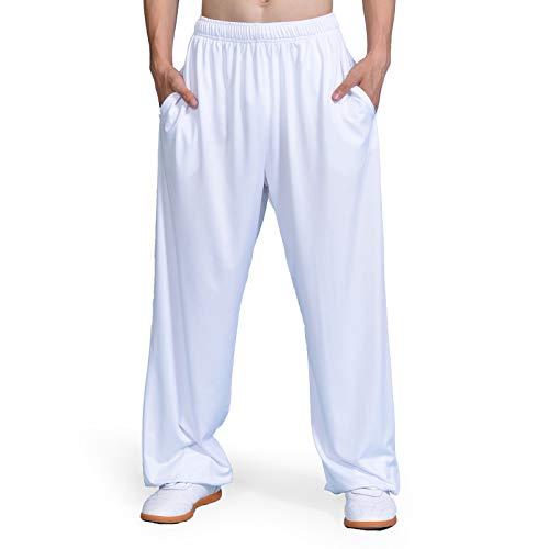 asdxz Tai Chi Hosen Traditionelle Trainingshosen Taiji Kung Fu Wing Chun Shaolin Klassische Kleidung Baumwollhose Unisex,White-XXL -