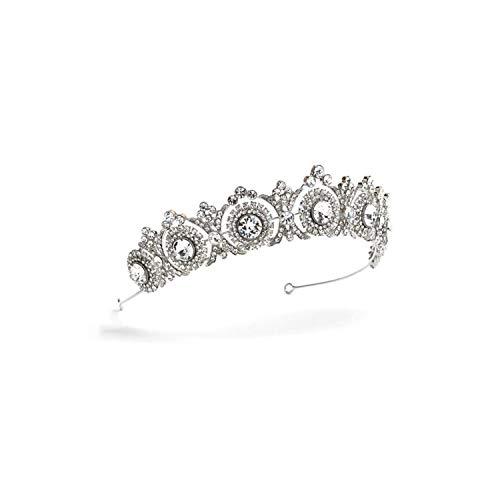 Diadem für Braut, mit Strasssteinen, Blumen-Diadem und Kronen, Hochzeitszubehör, silberfarben -