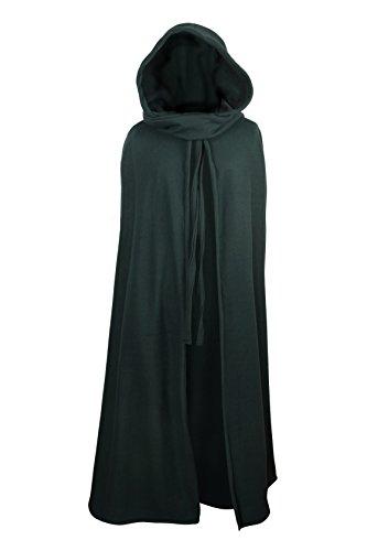 Mittelalterlicher Fleece Umhang - wärmend - grün L130 (Gugel, Poncho)