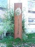 Edelrost , Garten Trennwand Stecker blumen motive Ranker massiv 145cm