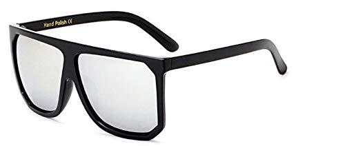 ZJMIYJ Sonnenbrillen Übergröße Frauen quadratische Sonnenbrille Designer Classic Sommer Standard Farben Flat Top Frame Brille Silber