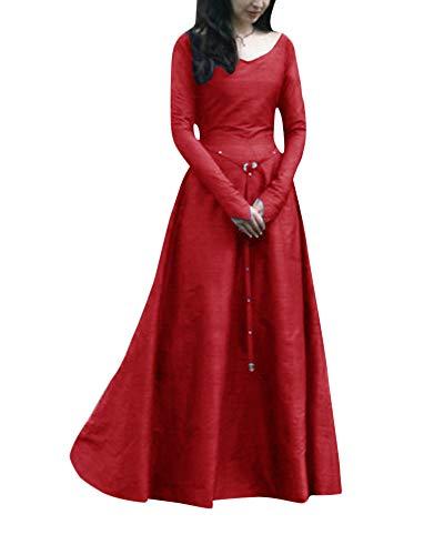 Penggenga donne abito medievale cosplay costume fancy dress maxi abiti rosso s