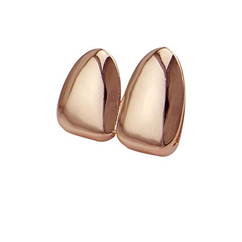 Top Bottom Tooth Caps für den Mund Glossy Two Tooth Hip Hop Teeth Grills Top und Bottom Teeth Vampire Fangs Grills für Holleween Gift One Size Fits All Teeth Grills (Farbe: Rose Gold) (Grill Rose Gold)