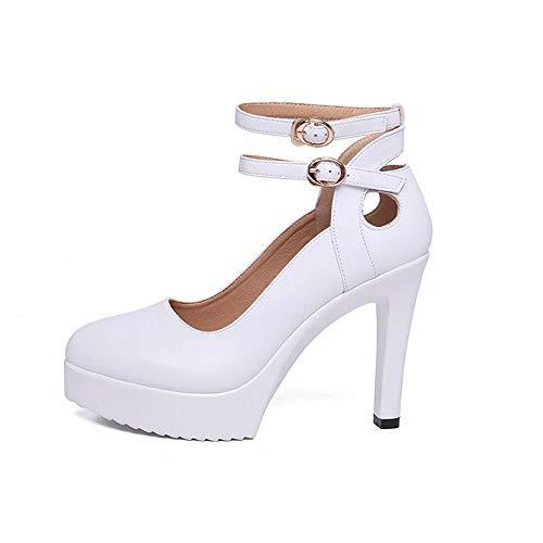 CXYGmmm Spitze High Heels Für Frauen, 2 Gürtel, Flacher Mund, wasserdichte Plattform, Stilett 11 cm (Size : 34) -