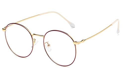 Brille Silber Gold Schwarz Rotgold Retro Sixties Style Runde Metall Brillen Damen Herren Klare Linse
