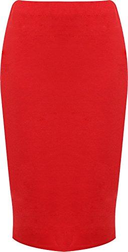 WearAll - Damen Übergröße Hinten Geschlitztes rock knielangen Gummizug - Rot - 48-50
