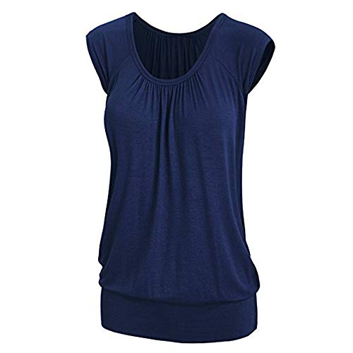 Linkay T Shirt Damen Kurz Bluse Tops Lässiger Rundhals Oberteile Mode 2019 (Blau, Small) -