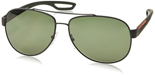 Prada Sport Herren Mod.55QS Sonnenbrille, Schwarz (Black rubber/Polar green), Gr. 62 mm