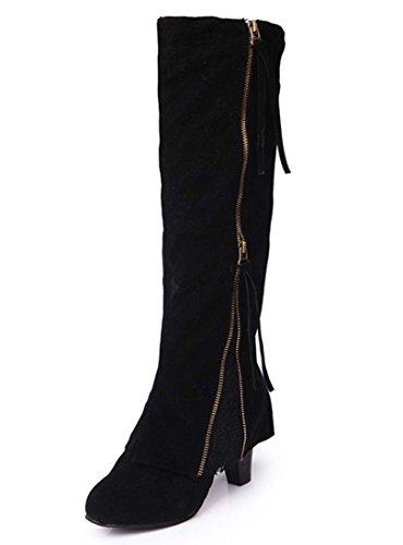 Donne Stretch Faux Slim Alti Stivali Ladies Over The Stivali Di Knee Alti Tacchi Scarpe Classica Inverno Autunno Inverno Boot Black