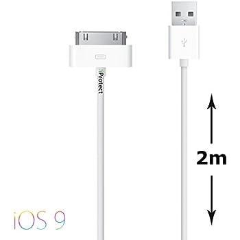 Original iProtect® USB Ladekabel Datenkabel 2 Meter weiß für iPhone und iPod 4S 4 3GS Classic Touch Nano 3G 2G Photo Mini