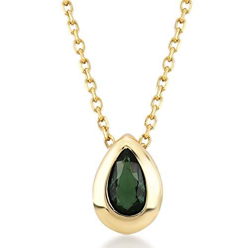 Damen Gold Halskette aus 14 Karat - 585 Echt Gelbgold mit Smaragd Grün Solitär Stein Anhänger - Geschenk für Valentinstag Geburtstag Weihnachten - Kette 45 cm
