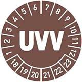 Prüfplaketten UVV 2018 - 2023 Ø 3 cm 100 Stück