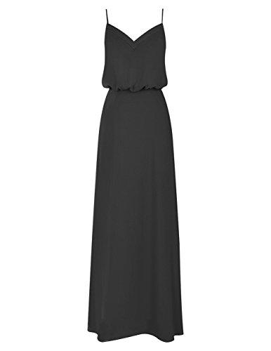 Dresstells Robe de cérémonie Robe de demoiselle d'honneur en mousseline col en V bretelles spaghetti Noir