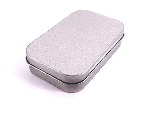 1x Mini-Blechdose, ohne Inhalt, Silberfarben, Scharnierdeckel, für Tabak, Aufbewahrungsdose