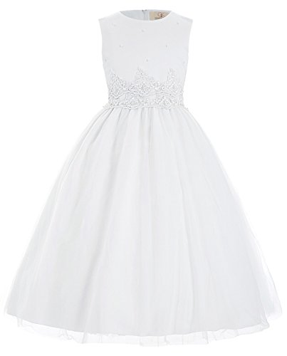 Weiss Party Abend Brautjungfer Kleid 7-8 Jahre ()