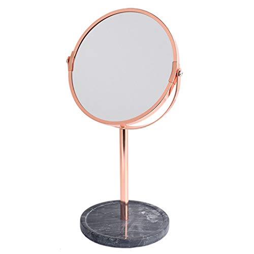 2-licht Abgeschrägten Glas (MYF Kreative Persönlichkeit Nordic Desktop Spiegel Marmorsockel 17.3CM / 6.8INCH All Direction Rotation, Rechteckig, Chrom Spiegel,Black+Rosegold)