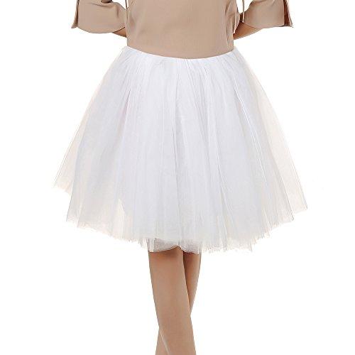 Damen Tüll rock tutu Tüllrock Unterrock Petticoat Knielang Falten Rock Tutu Organza weiß - 6